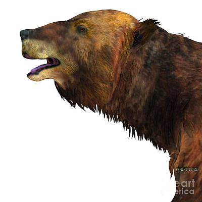 Ground Sloth Painting - Megatherium Sloth Head by Corey Ford