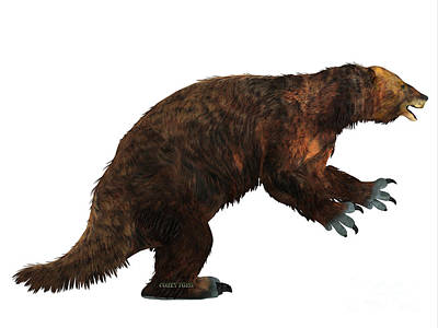 Ground Sloth Painting - Megatherium Sloth Side Profile by Corey Ford