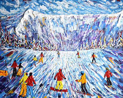 Painting - Megeve Rochebrune Summit  by Pete Caswell