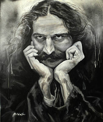 Baba Portrait Painting - Meher Baba Leaning On Hands by Joe DiSabatino