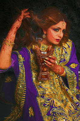 Painting - Mehndi Lady With Henna - Painting by Ericamaxine Price