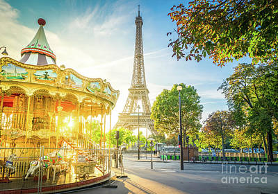 Paris Skyline Royalty-Free and Rights-Managed Images - Carousel by Eiffel, Paris by Anastasy Yarmolovich