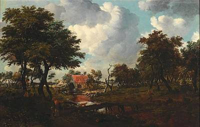 Nature Painting - Meindert Hobbema Amsterdam 1638-1709 A Landscape With A Bridge, by Meindert Hobbema
