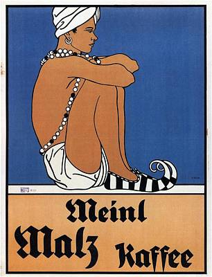 Royalty-Free and Rights-Managed Images -  Meinl Malz Kaffee - Coffee Malt - Vintage Advertising Poster by Studio Grafiikka