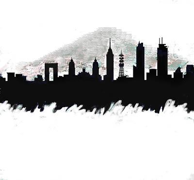 Meixco City Df Monochrome Skyline Art Print
