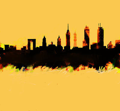 Philadelphia Skyline Painting - Meixco City Df Skyline by Enki Art