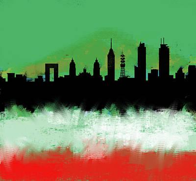 Philadelphia Skyline Painting - Mexico City Df Skyline Green White Red  by Enki Art