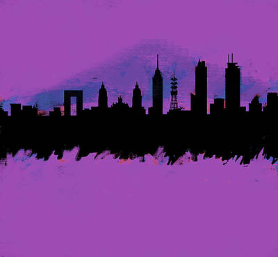 Philadelphia Skyline Painting - Meixco City Df Skyline Purple  by Enki Art