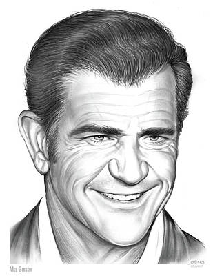 Cities Drawings - Mel Gibson by Greg Joens