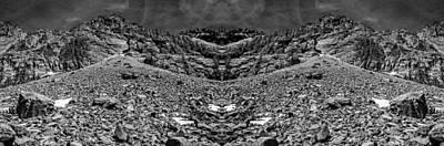 Surrealism Digital Art Rights Managed Images - Melakwa Pass Black and White Reflection Royalty-Free Image by Pelo Blanco Photo