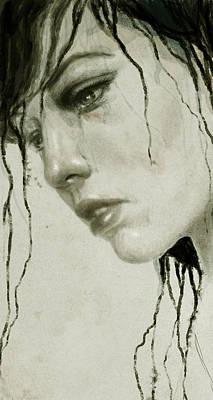 Woman Portrait Digital Art - Melancholic by Diego Fernandez