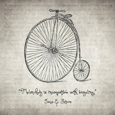 Valentine Gift Ideas Drawing - Melancholy Is Incompatible With Bicycling by Taylan Apukovska