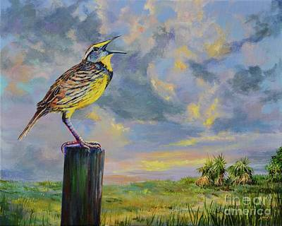 Meadowlark Painting - Melancholy Song by AnnaJo Vahle