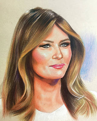 Drawing - Melania Trump by Robert Korhonen