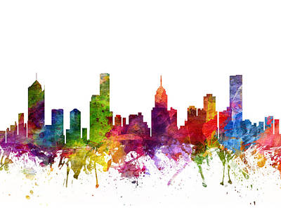 City Scenes Drawings - Melbourne Australia Cityscape 06 by Aged Pixel