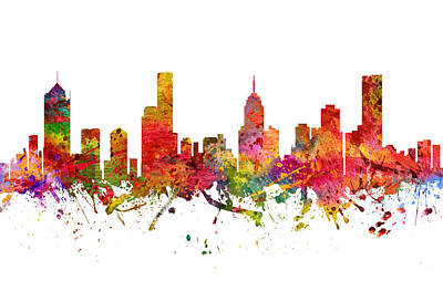Skylines Drawings - Melbourne Australia Cityscape 08 by Aged Pixel
