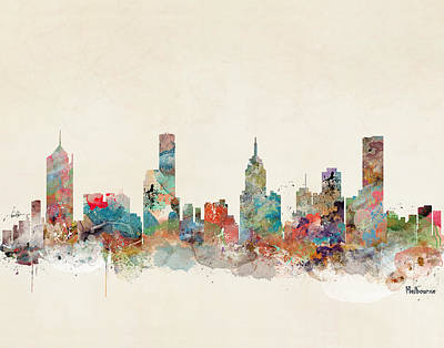 Painting - Melbourne Australia Skyline by Bleu Bri
