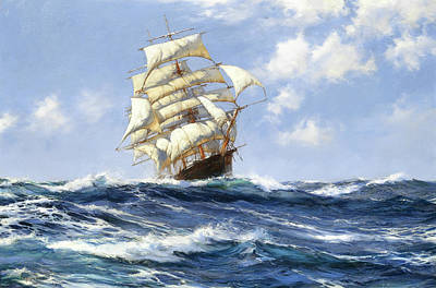 Melbourne Clipper Oberon Art Print by Montague Dawson