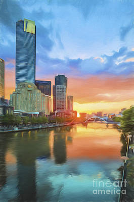 Photograph - Melbourne River Sunset    Go3 by Ray Warren