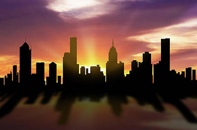 Melbourne Skyline Sunset Aume22 Art Print