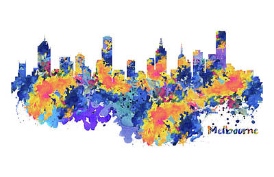 Mixed Media - Melbourne Watercolor Skyline by Marian Voicu