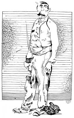 Gary Peterson Drawing - Melchers Fencer by Gary Peterson