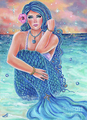 Mermaid Tail Painting - Melesendra Mermaid by Renee Lavoie