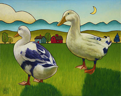 Rural Landscapes Painting - Melissas Ducks by Stacey Neumiller