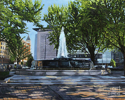 Painting - Mellon Fountain, Morning Light by Christopher Buoscio