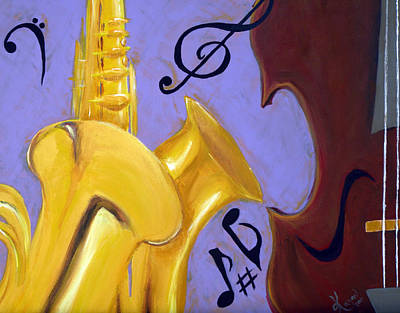 Trombone Mixed Media - Mellow Me by Kayon Cox