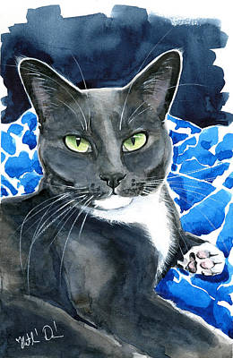 Painting - Melo - Blue Tuxedo Cat Painting by Dora Hathazi Mendes