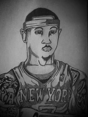 Knicks Drawing - Melo  by Ryan Williams
