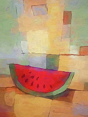 Painting - Melon Abstract by Lutz Baar