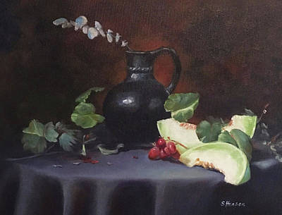 Painting - Melon And Vase by Sue Henson