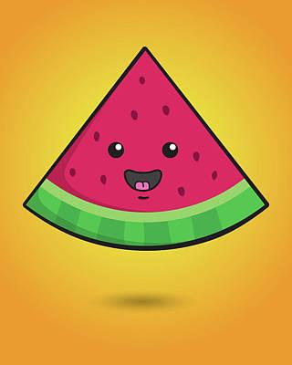 Water Digital Art - Melon Head by Samuel Whitton