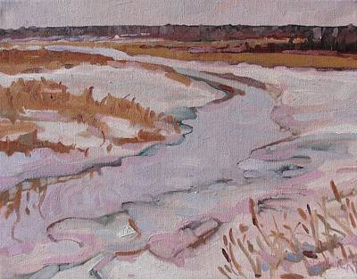 Winter Storm Painting - Melt Water by Phil Chadwick