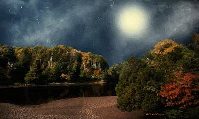 Painting - Melting Moon by RC deWinter