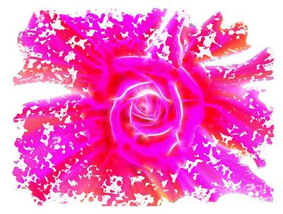 Melting Pink Rose Fractalius Art Print