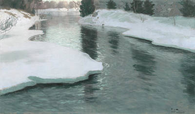 Melting Snow Art Print by Fritz Thaulow