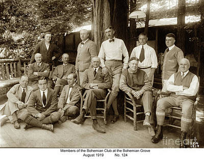Photograph - Members Of The Bohemian Club At The Bohemian Grove, August 1919 by California Views Mr Pat Hathaway Archives