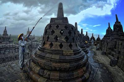 Jawa Photograph - Membersihkan Candi Borobudur by Gholib Marsudi