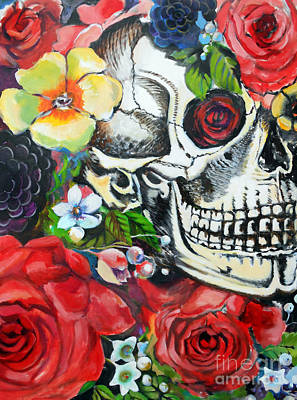 Rose And Skull Painting - Memento by E Bradshaw