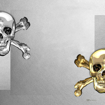 Digital Art - Memento Mori - Gold And Silver Human Skulls And Bones On White Canvas by Serge Averbukh