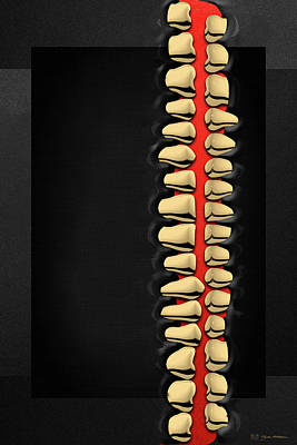Digital Art - Memento Mori - Gold Human Teeth Over Black And Red Canvas by Serge Averbukh