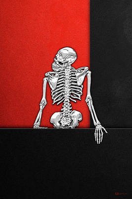 Digital Art - Memento Mori - Silver Human Skeleton On Black And Red Canvas by Serge Averbukh
