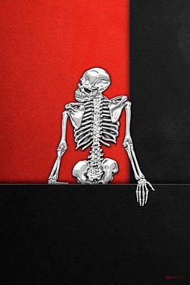 Digital Art - Memento Mori - Silver Human Skeleton On Black And Red Canvas by Serge Averbukh