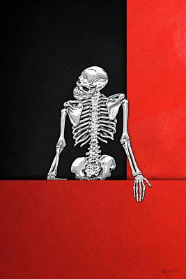 Digital Art - Memento Mori - Silver Human Skeleton On Red And Black Canvas by Serge Averbukh