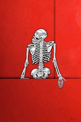 Digital Art - Memento Mori - Silver Human Skeleton On Red Canvas by Serge Averbukh