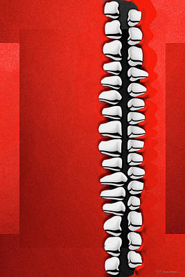 Digital Art - Memento Mori - Silver Human Teeth Over Red And Black Canvas by Serge Averbukh