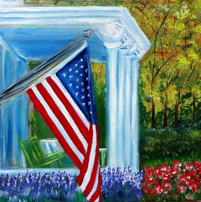 July 4th Painting - Memorial Day Usa Flag by Katy Hawk